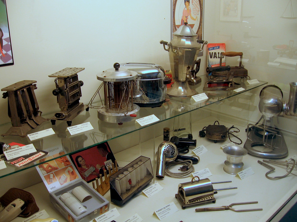 Assortment of old household objects
