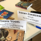Photo of name tags and books.