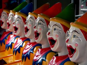 Row of fake clowns