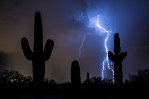 Blue lightning in the desert