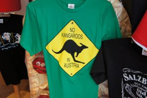 "Popular t-shirt in Austria explaining ""No Kangaroos in Austria"""