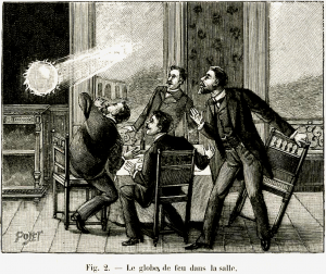 Illustration of four men looking aghast about a ghost or ball lightning