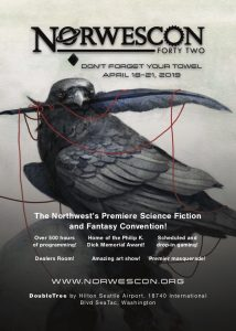 Norwescon advertisement featuring illustration of a raven or crow with a feather in its mouth