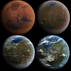 Artist's rendering of a potential terraformed Mars in stages