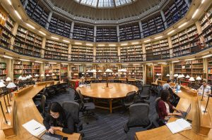 Rounded library reading room at the Maughan Library