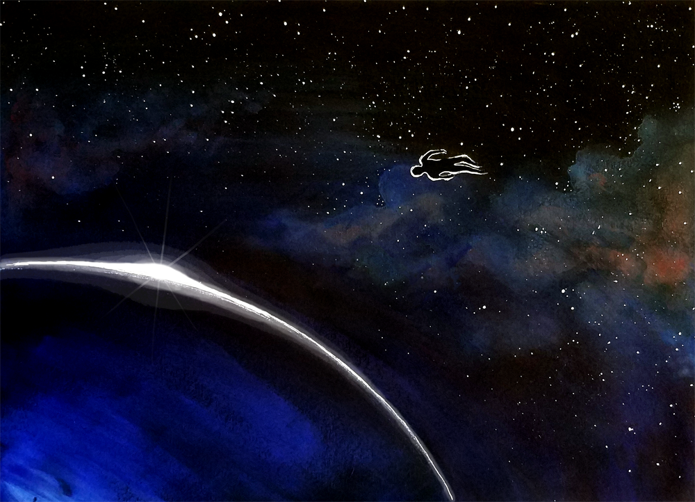 Illustration of a man floating in orbit around a planet.