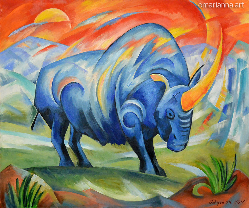Artist interpretation of a siberian unicorn in bright colors