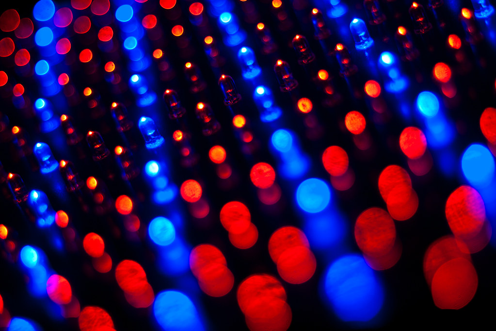 Rows of red and blue LEDs