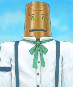 Illustration of a steampunk robot wearing a shirt and tie.