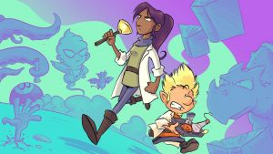 Illustration from Stormhaven Techs featuring a ghostly figure, a dark skinned woman in a lab coat, and a white male gnome in a lab coat