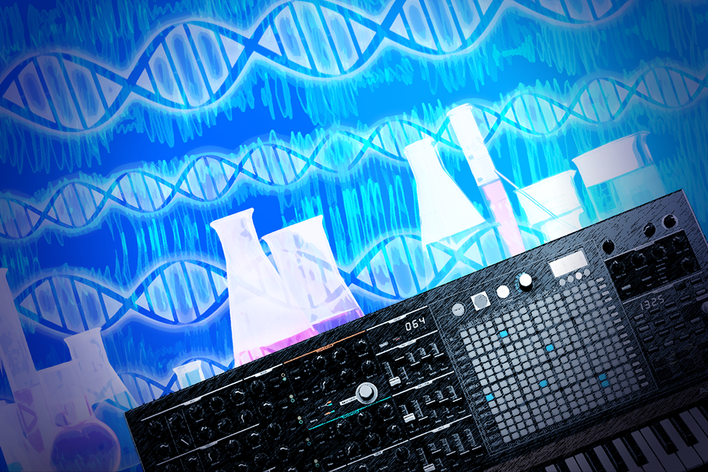 Photo of a sound board with images of DNA strands and chemistry equipment above it.