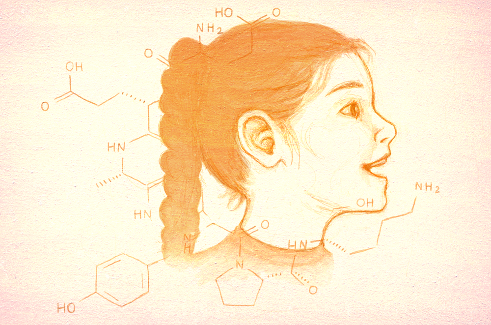 Illustration of a little girl viewed in profile, with chemical formulas superimposed over her.