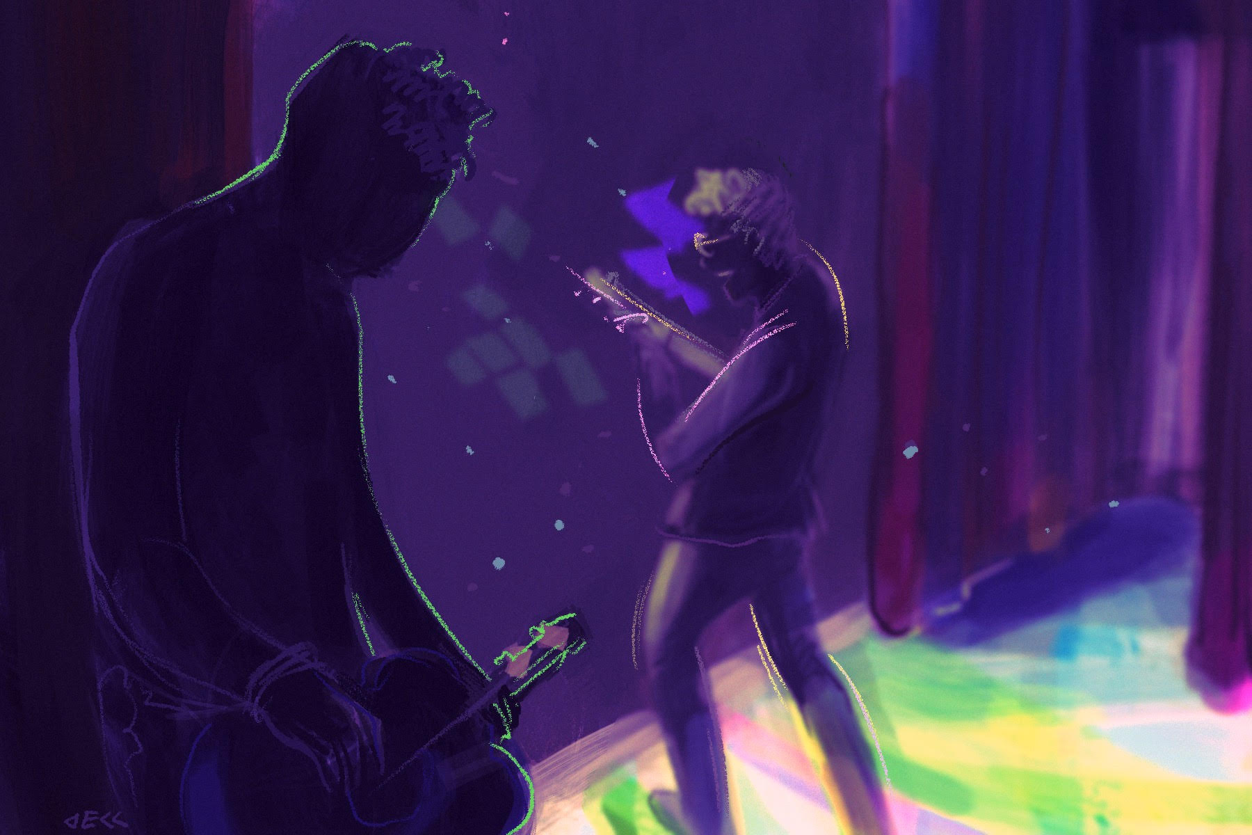 Illustration of a band on stage.
