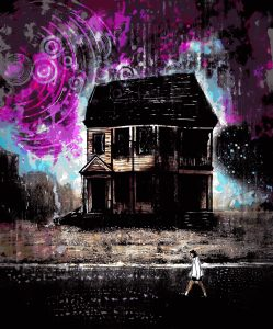 Illustration of someone in a white dress walking past a dark house with strange swirls in the sky overhead.