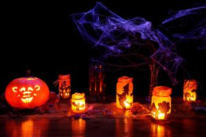 Halloween lanterns and pumpkin with spider web