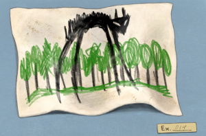 Childlike drawing of a monster in front of a forest.