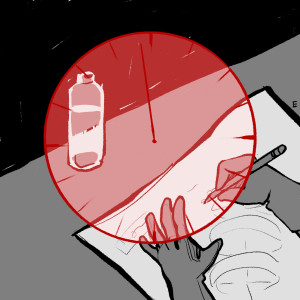 Black and white illustration of someone working on a piece of paper with a red clock superimposed over it.