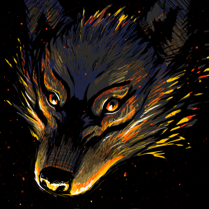 Illustration of a wolf, illuminated by flames.