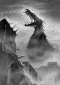 Illustration of a giant monster looming over ruined buildings.