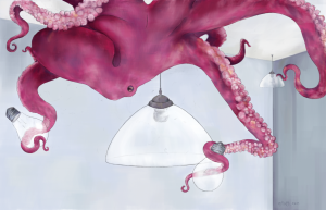 Illustration of an octopus changing a lightbulb.
