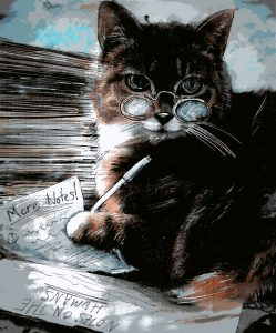 Illustration of a cat wearing glasses and taking notes with a pen.