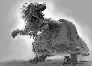 Illustration of a velociraptor wearing a dress and wig.